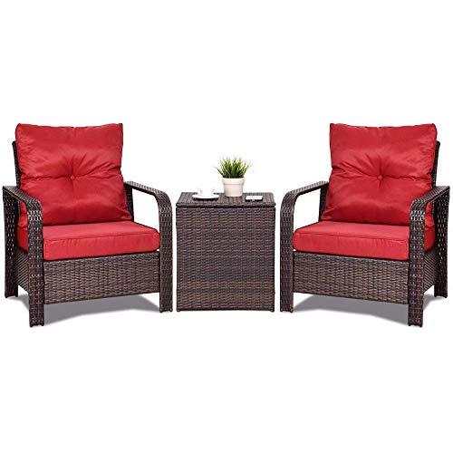 JINPENGRAN 3 STÜCKE Rattan Wicker Patio Bistro Möbel Set Stühle Aufbewahrungstisch + Kissen Neue Gartenmöbel-Outdoor Gartenmöbel Sets