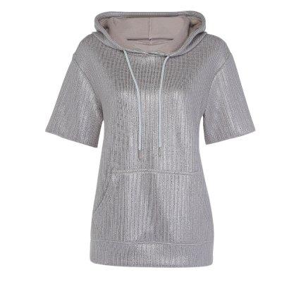 Hannea Hooded Short Sleeve Pocket Gloss Sliver Women Hoodie