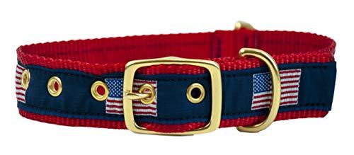 Leather Man Ltd Hundehalsband, klassisch, amerikanische Flagge, XLarge