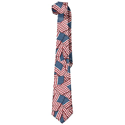 Patriotic American Flag USA Lover Men's Leisure Skinny Necktie Ties Novelty Necktie Silk
