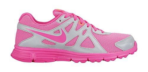 Nike Mädchen Revolution 2 GS Laufschuhe, Grau/Rosa (MTLC Pltnm/Pnk Pw-Weiß-Brght), 38 EU - Nike Mädchen 2 Revolution