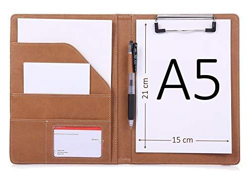 Support pour bloc-notes format A5 avec organiseur de document et poche interne (Bleu, Noir, Marron)