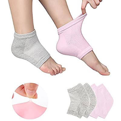 Gel Heel Socks Vented Moisturizing Spa for Dry Hard Cracked Skin Day Night Toe Open Silicone Feet Care Sets Ultimate Treatment with Quality Cotton and Botanical Gel Pack of 2 Pairs Free Size