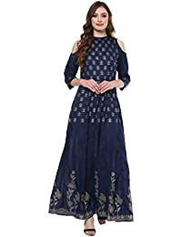 Ziyaa Women's Blue Coloured Foil Ethnic Printed Poly Silk Festive Wear Anarkali With Cold Shoulder Sleeve (ZIKUPS1970)
