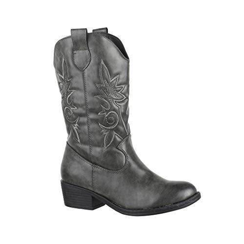 Elara Damen Cowboy Stiefel | Bequeme Lederoptik Stiefeletten | Blockabsatz Zipper | Gefüttert | chunkyrayan 7630-PG Grey-38 -