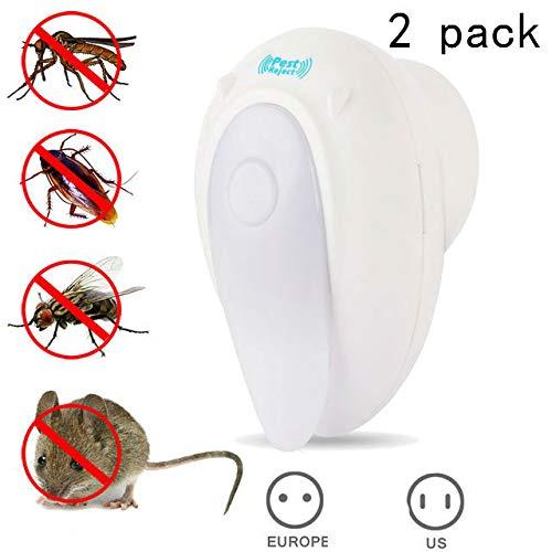 MUXAN Repelente ultrasónico de plagas con luz nocturna, repelente enchufable para interiores para mosquitos, ratas, insectos, arañas, cucarachas y hormigas (paquete de 2)