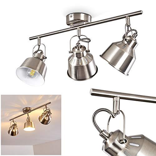 Deckenleuchte Safari, Deckenlampe aus Metall in Stahl gebürstet/Weiß, 3-flammig, mit verstellbaren Strahlern u. Lichteffekt, 3 x E14-Fassung max. 40 Watt, Spot im Retro/Vintage Design, LED geeignet -