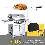 GREADEN- BBQ Grill Barbecue À Gaz INOX DÖNER- 4 BRÛLEURS+ KIT RÔTISSOIRE...