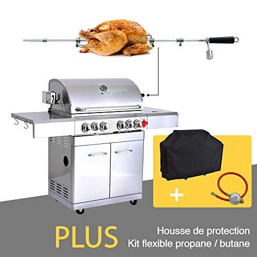 GREADEN- BBQ Grill Barbecue À Gaz INOX DÖNER- 4 BRÛLEURS+ KIT RÔTISSOIRE (Infrarouge & TOURNEBROCHE)+ FEU LATÉRAL et Thermomètre, 22KW, Grille/Plancha(Plus kit flexibile + Housse)