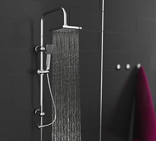 EISL Duschset EASY ENERGY, Duschsäule 2 in 1 mit großer Regendusche (176 x 176 mm) und Handbrause,  ideal zum Nachrüsten durch Nutzung vorhandener Bohrlöcher, komplettes Montageset Chrom DX12004-A