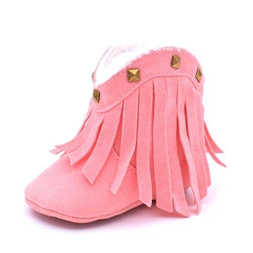 Hunpta Baby Schneestiefel weiche Sohle weiche Krippe Schuhe Kleinkind Quaste Nieten Stiefel Rosa