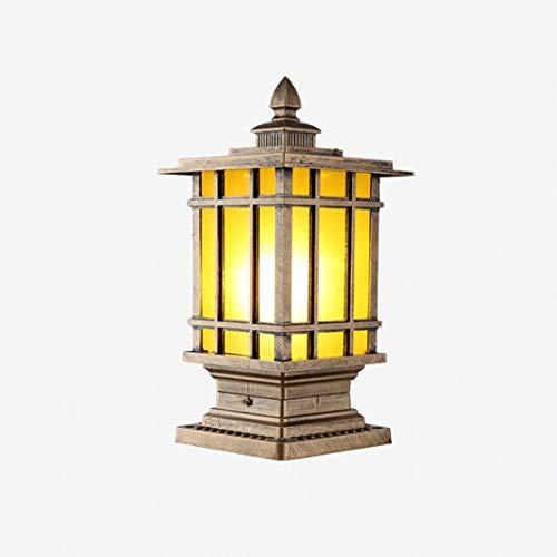 1-licht-post-lampe (Jtivcs Retro Regenfest 1-Licht Outdoor Garten Post Laterne Vintage IP65 wasserdichte Landschaft Spalte Licht Traditionelle Post Lampe E27 Decor Patio Säule Leuchte Gartenlampen)