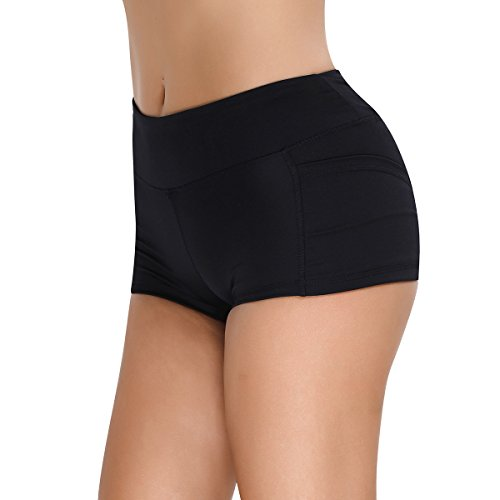 iEFiEL Damen Shorts Sport Laufhose Gym Yoga Shorts kurze Hose Laufshorts Fitness Sporthose Trainingshose Schwarz M