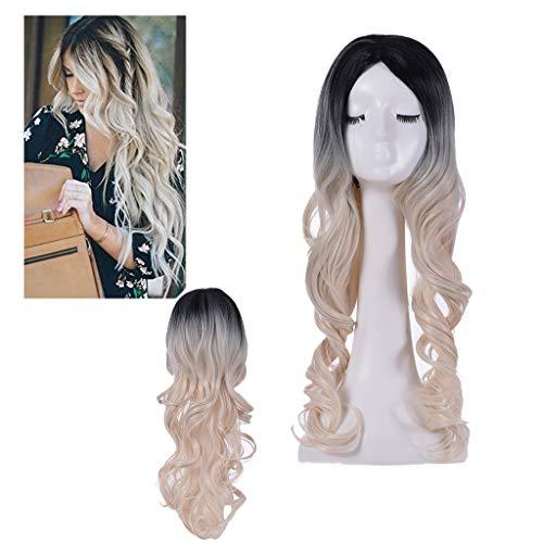 Perruque pour Femme Longue, Solike 65 cm Cheveux Longues Bouclés Perruques Cheveux Ondulés Cheveux Gradient Couleur Perruque Cosplay (65 cm, Biege)