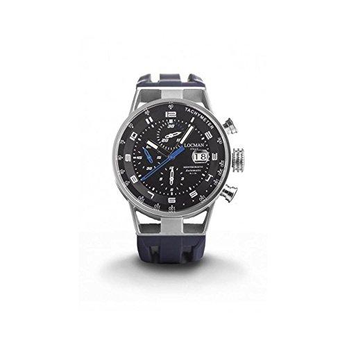 Montre Locman Montecristo 0516a01s-00bkblsb automatique acier Quandrante Noir Bracelet Caoutchouc