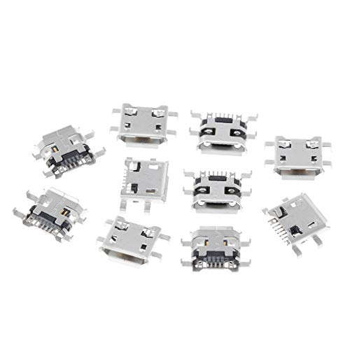 JOYKK 10 Stücke Micro USB Typ B Buchse 5Pin 0,72mm Für Handy Tablet Lade - Silber Ton -