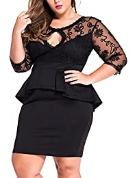 r-dessous Damen Kleid Mini schwarz Etuikleid knielanges Cocktail Abendkleid Spitze große Größen 42 44 M L