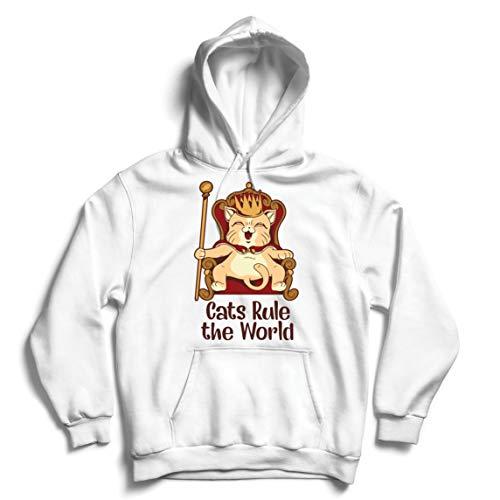 lepni.me Kapuzenpullover Katzen regieren die Welt Lustiges, süßes Geschenk für Katzenliebhaber (Medium Weiß Mehrfarben)