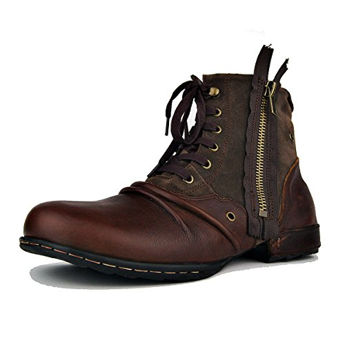 OTTO ZONE Herren Worker Boots | Schnürstiefeletten Leder Optik | Blockabsatz Profilsohle | Schnürer Schuhe Schnallen | Schnürboots |OZ-5008-8 Leder-motorrad-stiefel