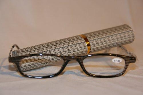 Schöne Lesebrille mit farblich passenden Etui in grau +3,0 dpt