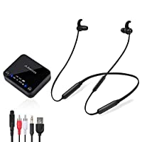 Avantree HT4186 Wireless Headphones Earbuds for TV Watching, Neckband Earphones Hearing Set w/Bluetooth Transmitter for OPTICAL Digital Audio, RCA, 3.5mm Aux Ported TVs, PLUG n PLAY, No Audio Delay