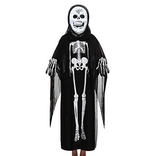 GOKOMO Männer und Frauen, Skelett Ghost Kleidung Mantel + Horror-Maske + Handschuhe drei Stück Halloween Cosplay Set Eltern-Kind-Kostüme schwarz D (Snoopy Kostüm Kind)