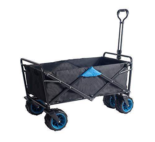 UMI. Essentials Bollerwagen Offroad Transportwagen Handwagen faltbar Gartenwagen die Reifen mit Lager für Alle Gelände Geeignet (Schwarz/Blau)