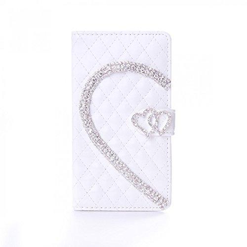 numerva LG G3S Hülle, Schutzhülle [Herz Strass Case, Standfunktion, Kartenfach] PU Leder Tasche für LG G3S Beat Handytasche Cover [Weiss] - Beats Bling Weiß