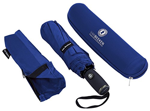 Regenschirm Sturmfest I kompakter Taschenschirm VAN BEEKEN - windfest bis 140 km/h, wasserabweisend, klein, leicht - Stabiler Schirm mit voll-automatischer Auf Zu Automatik, 95 cm Blau