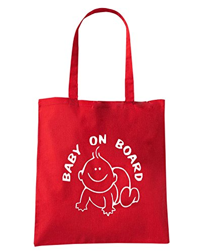 T-Shirtshock - Borsa Shopping FUN0665 baby on boad decal 34038 Rosso
