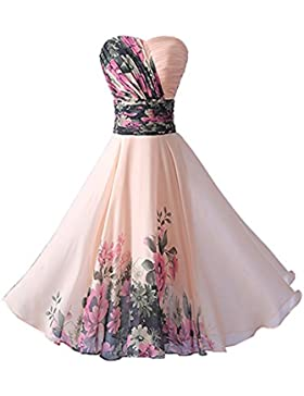 YipGrace Donna Elegante Senza Spalline Vestiti Da Sera Corti Pink XXXL