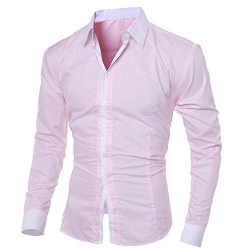 Herren T-shirt,Dasongff Mode Persönlichkeit Herren Hemd Casual Slim Fit Langarm-Shirt Top Bluse Oberteile Stehkragen Freizeithemd Langarmhemd Businesshemd (M, Rosa)
