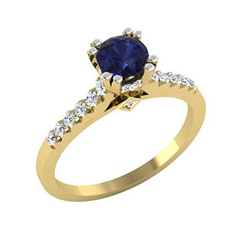 0,82CT Diamant Rund Engagement Ring Diamant Blau Sapphire Ring Edelstein 14K Gelb Gold Alle Größe (I) (Diamanten Lose Ring)