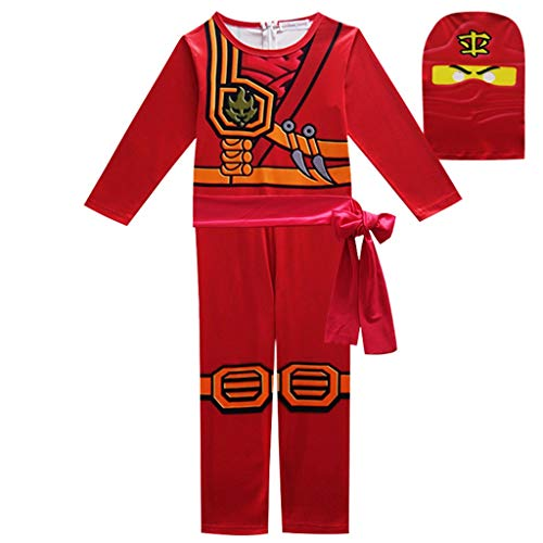 DMMDHR Halloween  Party Costumes Boys Clothes Superhero Cosplay Ninja Costume Girls Halloween Costume Party Dress Up Kids Dresses for Boys,Red,10T