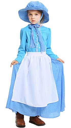 Mädchen Bauer Kleinkind Kostüm - MOMBEBE COSLAND Mädchen Pionier Kostüme Bauer Kleid (Blau, M)