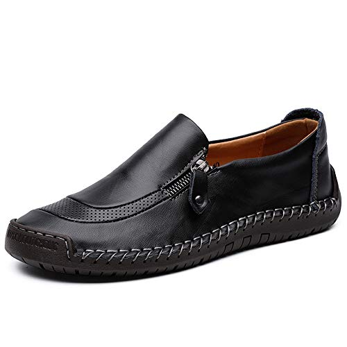 Easy Go Shopping Mann Driving Loafer Casual Leder weiche Sohle atmungsaktiv Faule Person große Größe Boot Mokassins,Grille Schuhe (Color : Schwarz, Größe : 48 EU)
