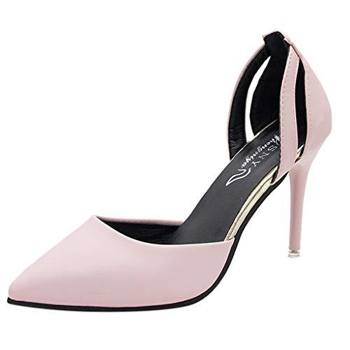 Yvelands Damen wies einzelne Schuhe Flacher Mund Hochhackige Schuhe Wild Ladies Sandals(CN-36,Rosa)
