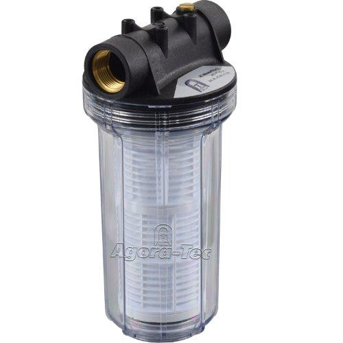 Agora-Tec® AT-Wasserfilter 2L, mit Max. Betriebsdruck: 4 bar, Max. Durchflussmenge: 3000 l/h, Maschenweiter Filtersieb: 0,2 mm, Anschlüsse: 1 Zoll (30,3 mm) IG Messingbuchsen