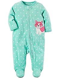 bb1eca019 Carter's Baby Girls' Fleece Zip Up Sleep and Play Dog Footies
