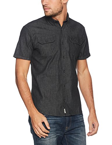 SHINE ORIGINAL Chambray Shirt S/S, Chemise Casual Homme Schwarz (Dust Black)