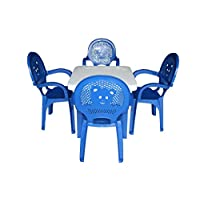 Resol Childrens Kids Garden Outdoor Plastic Chairs & Table Set - Blue Chairs, White Table - Childs Furniture (Pack of 4 Chairs & 1 Table)