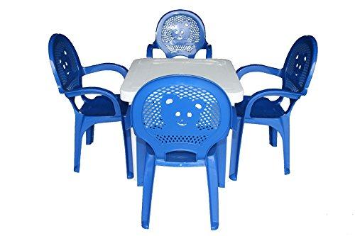 Der Garten-Plastikstühle u. Tabelle Resol-Kinder eingestellt - blaue Stühle, weiße Tabelle - (Satz von 4 Stühlen u. von 1 Tabelle)