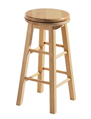 Premier Housewares Revolving Rubberwood Stool - 64 x 32 x 32 cm - cheap UK bar stool shop.