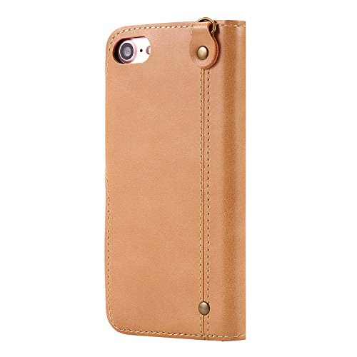 """MOONCASE iPhone 7 Coque, Card Slots Faux Cuir Flip Portefeuille Housse Flexible TPU Antichoc Protection Étuis Case pour iPhone 7 4.7"""" Kaki Kaki"""