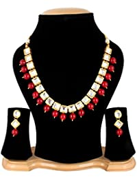 Quail Fashion Jewellery Traditional Gold Plated Kundan Onyx Necklace Set For Women Wedding With Earrings / Jewellery...