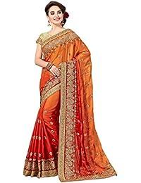 Aarti Apparels Women's Designer Embroiderd Crepe Sari_Orange