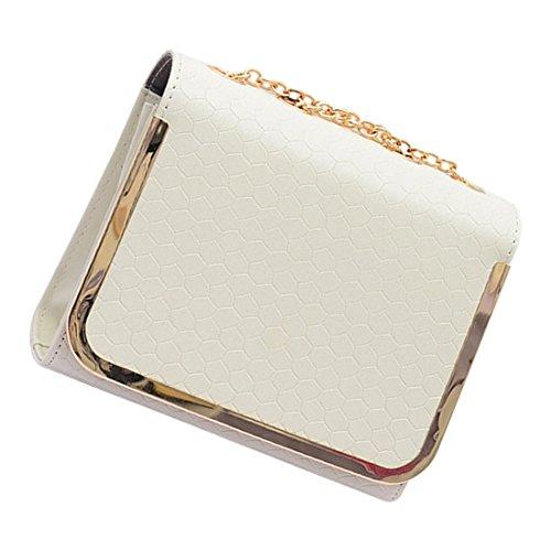 messaggero borsa - SODIAL(R)piccola borsa sacchetto dellunita di elaborazione Borse di cuoio del messaggero delle donne una spalla di colore della caramella della borsa epoca moda femminile rosa bianco