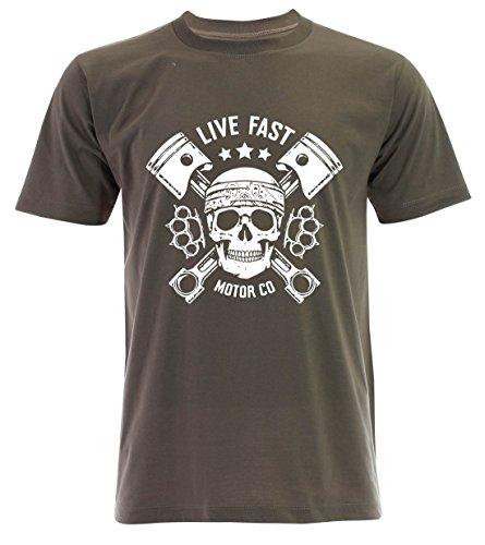 PALLAS Unisex's Motorcycle Club Live Fast Vintage T Shirt Khaki