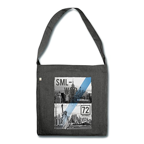 smiley-world-new-york-silhouette-urbaine-sac-bandouliere-100-recycle-de-spreadshirtr-noir-chine