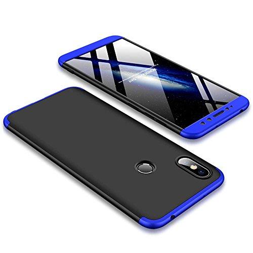 Bigcousin Xiaomi Redmi S2 Hülle, mit [1 x Panzerglas Schutzfolie] 3 in 1 Ultra Dünner PC Harte Schutzhülle 360 Grad Hülle Fullbody Case Cover für Xiaomi Redmi S2 - Blau + Schwarz